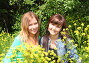 Две девушки подружки в полевых цветах, фото № 3704482, снято 31 мая 2012 г. (c) ElenArt / Фотобанк Лори