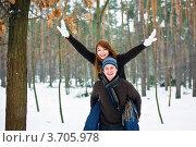 Смеющаяся влюбленная пара. Стоковое фото, фотограф Анна Лисовская / Фотобанк Лори