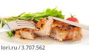 Мясо с луком и перцем, приготовленное на гриле. Стоковое фото, фотограф Лариса Кривошапка / Фотобанк Лори