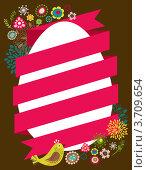 Иллюстрация на тему пасхи с яйцом и красной лентой. Стоковая иллюстрация, иллюстратор Marina Zlochin / Фотобанк Лори