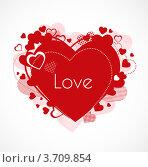 Красное узорчатое сердце. Стоковая иллюстрация, иллюстратор Marina Zlochin / Фотобанк Лори