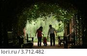 Купить «Семья входит в растительный туннель», видеоролик № 3712482, снято 7 сентября 2010 г. (c) Losevsky Pavel / Фотобанк Лори