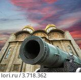 Купить «Царь-пушкав Московском Кремле на фоне закатного неба», фото № 3718362, снято 20 августа 2010 г. (c) Владимир Журавлев / Фотобанк Лори