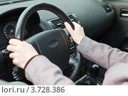 Правильное положение рук на автомобильном руле. Стоковое фото, фотограф Кекяляйнен Андрей / Фотобанк Лори