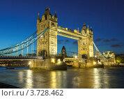 Купить «Тауэрский мост ночью, Лондон, Великобритания», фото № 3728462, снято 20 февраля 2018 г. (c) Sergey Borisov / Фотобанк Лори