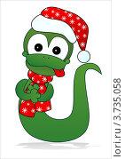 Купить «Змея в новогодней шапке - символ 2013 года», иллюстрация № 3735058 (c) ivolodina / Фотобанк Лори