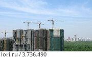 Купить «Башенные краны на стройке небоскребов, таймлапс», видеоролик № 3736490, снято 31 мая 2011 г. (c) Losevsky Pavel / Фотобанк Лори