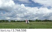 Купить «Молодая мама прогуливается с коляской в поле», видеоролик № 3744598, снято 30 июля 2012 г. (c) Данил Руденко / Фотобанк Лори
