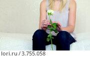 Купить «Юная девушка с белой розой в руках сидит на кровати», видеоролик № 3755058, снято 6 сентября 2011 г. (c) Losevsky Pavel / Фотобанк Лори