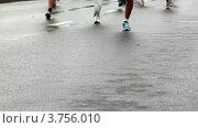 Купить «Ноги бегущих марафон людей на мокром асфальте ( XXX Moscow International Peace Marathon)», видеоролик № 3756010, снято 28 сентября 2011 г. (c) Losevsky Pavel / Фотобанк Лори