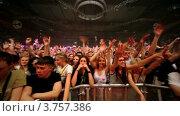 Зрители на концерте известного датского диджея Armin Van Buuren (2011 год). Редакционное видео, видеограф Losevsky Pavel / Фотобанк Лори