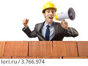 Купить «Строитель-прораб говорит в громкоговоритель», фото № 3766974, снято 22 мая 2012 г. (c) Elnur / Фотобанк Лори