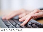 Руки человека на компьютерной клавиатуре. Стоковое фото, фотограф Elnur / Фотобанк Лори