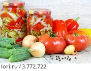 Купить «Консервированный овощной салат и свежие овощи. Домашние заготовки.», фото № 3772722, снято 22 августа 2012 г. (c) Надежда Мишкова / Фотобанк Лори
