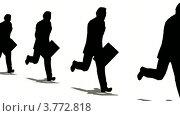 Купить «Силуэты на белом фоне. Бизнесмены бегут с портфелями в руках», видеоролик № 3772818, снято 25 апреля 2008 г. (c) Losevsky Pavel / Фотобанк Лори