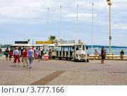 Купить «Туристический трамвайчик, расположенный на знаменитом бульваре  Круазетт в Каннах», фото № 3777166, снято 13 июня 2010 г. (c) ElenArt / Фотобанк Лори