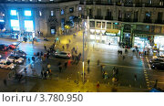 Купить «Улица Gran Via вечером, Мадрид, таймлапс», видеоролик № 3780950, снято 19 апреля 2012 г. (c) Losevsky Pavel / Фотобанк Лори