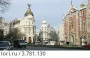 Купить «Поток машин рядом с отелем Метрополь в Мадриде, таймлапс», видеоролик № 3781130, снято 20 апреля 2012 г. (c) Losevsky Pavel / Фотобанк Лори