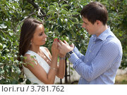 Влюблённые в яблоневом саду. Стоковое фото, фотограф Михаил Иванов / Фотобанк Лори
