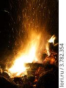 Пламя костра и искры. Стоковое фото, фотограф Антон Жигаев / Фотобанк Лори
