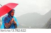 Купить «Женщина под зонтом напротив скалистых пейзажей», видеоролик № 3782622, снято 5 июня 2012 г. (c) Losevsky Pavel / Фотобанк Лори