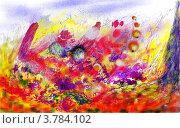 Яркая пестрая абстракция, имитирующая рисунок карандашом и акварелью. Стоковая иллюстрация, иллюстратор Юлия Юрчевская / Фотобанк Лори