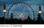 Купить «Колесо обозрения на ВВЦ в ночное время», видеоролик № 3784926, снято 17 июля 2012 г. (c) Losevsky Pavel / Фотобанк Лори