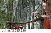 Купить «Люди идут по веревочному мосту в парке развлечений Панда (таймлапс)», видеоролик № 3785210, снято 29 мая 2012 г. (c) Losevsky Pavel / Фотобанк Лори