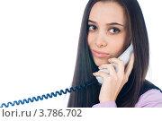 Купить «Девушка разговаривает по телефону», фото № 3786702, снято 14 января 2010 г. (c) Сергей Буторин / Фотобанк Лори