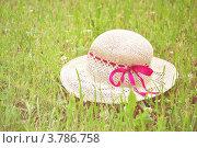 Женская соломенная шляпа с розовой лентой на траве. Стоковое фото, фотограф Елена Шуршилина / Фотобанк Лори
