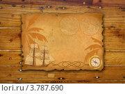 Купить «Фон с парусником и компасом», иллюстрация № 3787690 (c) Татьяна Петрова / Фотобанк Лори
