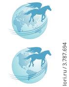 Купить «Силуэт пегаса на фоне земного шара», иллюстрация № 3787694 (c) Татьяна Петрова / Фотобанк Лори