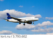 Купить «Белый реактивный пассажирский самолет в небе», фото № 3793602, снято 9 июня 2012 г. (c) Mikhail Starodubov / Фотобанк Лори