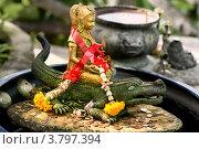 Купить «Азиатская скульптура, приносящая деньги. Девушка на крокодиле», фото № 3797394, снято 21 декабря 2010 г. (c) Эдуард Паравян / Фотобанк Лори