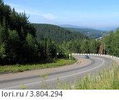 Автомобильная дорога возле Красноярска. Стоковое фото, фотограф Владислав Чеканин / Фотобанк Лори