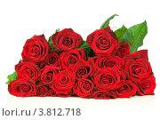 Букет красных роз на белом фоне. Стоковое фото, фотограф Виталий Радунцев / Фотобанк Лори
