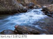 Купить «Красивый водопад на горной реке в предгорье Восточных Саян», фото № 3812970, снято 9 октября 2011 г. (c) Виктория Катьянова / Фотобанк Лори