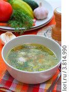 Купить «Суп с фрикадельками», эксклюзивное фото № 3814990, снято 7 сентября 2012 г. (c) Дорощенко Элла / Фотобанк Лори
