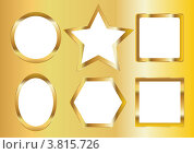 Золотые фигурные рамки. Стоковая иллюстрация, иллюстратор Шулешко Оксана Валерьевна / Фотобанк Лори
