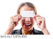 Купить «Девушка держит в руках пустую визитку и облизывается», фото № 3816850, снято 10 августа 2012 г. (c) Elnur / Фотобанк Лори