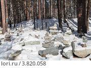 Священное место Обо вблизи поселка Аршан, Сибирь, Россия. Стоковое фото, фотограф Игорь Долгов / Фотобанк Лори