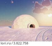 Купить «Иглу на снегу утром», иллюстрация № 3822758 (c) Виктор Застольский / Фотобанк Лори