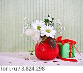 Купить «Букет цветов в красой вазе и новогодний подарок», фото № 3824298, снято 16 декабря 2011 г. (c) Дарья Петренко / Фотобанк Лори