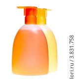 Купить «Два флакона жидкого мыла с дозаторами», фото № 3831758, снято 11 декабря 2009 г. (c) Куликов Константин / Фотобанк Лори