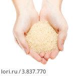 Купить «Женские руки с горстью рисовой крупы», фото № 3837770, снято 15 сентября 2012 г. (c) Кекяляйнен Андрей / Фотобанк Лори