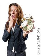 Купить «Деловая женщина зевает и показывает будильник», фото № 3841642, снято 13 июля 2012 г. (c) Elnur / Фотобанк Лори