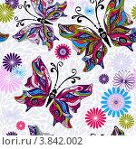 Купить «Бесшовный фон с бабочками», иллюстрация № 3842002 (c) Ольга Дроздова / Фотобанк Лори
