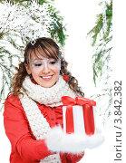 Купить «Счастливая женщина в зимней одежде с подарком», фото № 3842382, снято 25 декабря 2011 г. (c) Podvysotskiy Roman / Фотобанк Лори