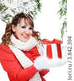 Купить «Привлекательная девушка в зимней одежде с новогодним подарком», фото № 3842394, снято 25 декабря 2011 г. (c) Podvysotskiy Roman / Фотобанк Лори