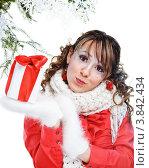 Купить «Девушка в новогодней одежде с подарком в руках», фото № 3842434, снято 25 декабря 2011 г. (c) Podvysotskiy Roman / Фотобанк Лори